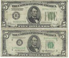 2 Notes 1928 B Gold Demand $5.00 & Usa Frn $5.00 = Your Win Two Notes = N R =