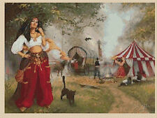 Cross stitch chart  Gypsy Lady Camp 221  FlowerPower37-UK.FREE UK P&P..
