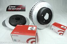 SLOTTED PAIR FRONT & REAR DISC BRAKE ROTORS & BREMBO PADS COMMODORE VT VX VY VZ