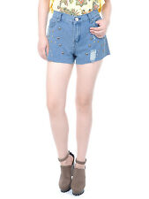 USA S/M Fit Denim Blue High Waisted Metallic Multi-Button Studded Shorts