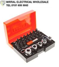 "BAHCO 26 Piece Metric 1/4"" Mini Ratchet Wrench Socket Screwdriver Bits 2058/S26"