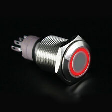 12V 16mm LED DIY CAR Power Push Button Switch Silver Aluminum Latching Red
