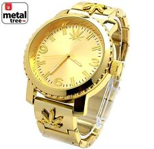 Men's Hip Hop 14k Gold Plated Heavy Metal Band Techno Pave Watches 6937 G MJ