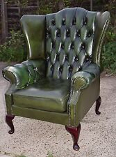 Chesterfield Leather Wingback Armchair Green Queenanne Designer CAN DELIVER
