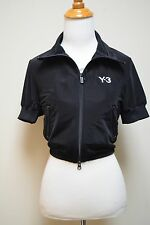 Y-3 YOHJI YAMAMOTO Adidas Black Short Sleeved Zip Front Jacket Top Shirt Size XS