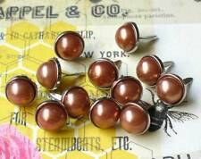 12mm PEARL BRADS- BRONZE w/Silver Trim Scrapbook CardMaking 10pc