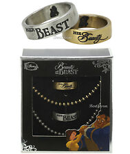 Disney Beauty and The Beast HIS & HER Boxed Ring /Necklace Set 6 &10 Belle NEW