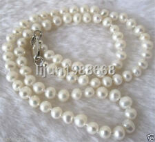 7-8mm White Akoya Cultured Pearl Necklace 18""