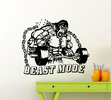 Gym Wall Decal Beast Mode Fitness Sport Vinyl Sticker Art Decor Mural 130gy