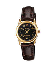 Casio Women's Brown Leather Strap Watch, Black Dial, LTP-V001GL-1B