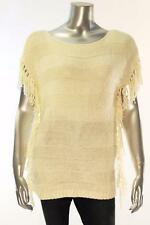 New Women's #694 American Living Creme Striped Sleeveless Sweater w/ Tassels Med