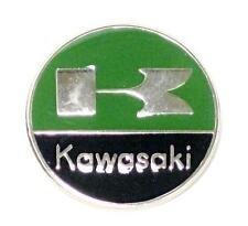Kawasaki lapel pin green black chrome round classic vintage motorcycle UK MADE
