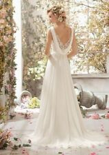 White ivory Lace Bridal Gown Wedding Dress Custom Size 6 8 10 12 14 16 18+++++