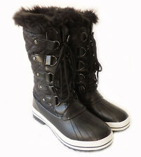 NEW FASHION WOMEN MID-CALF FUR LINED WARM WINTER SNOW BOOTS PAMMY-02 /BLACK