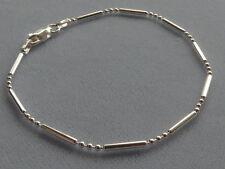 "ITALIAN STERLING SILVER- 8""-BRACELET-BAR+3 ROUND BEADS-ITALY 925"