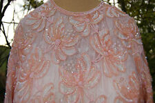 VINTAGE,WEDDING,MOB,CRUISE,FRANK USHER,10/12,PEACH,BEAD,SEQUIN.LACE DRESS