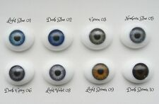 6mm Flat Back Oval Glass Eyes~Green~
