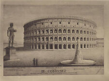 DOUBLE SIDED ALBUMEN PRINT ENGRAVINGS OF THE COLOSSEUM - ROME, ITALY