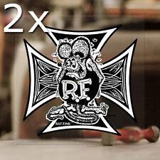 2x Stück Rat Fink Iron Cross Sticker Aufkleber Hot Rod Autocollante 100mm