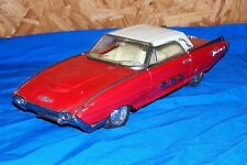 "Old Friction Motor Toy Car Ford Thunderbird 10"" Vehicle Vintage Automobile Red"
