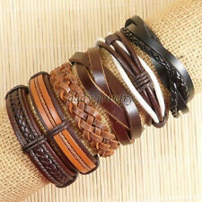 6pcs Wrap Leather Braided Rope Wristband men bracelets & bangles for women-D53