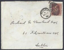 UK GB 1878 RUGBY NEAT DUPLEX CANCEL ON COVER TO DUBLIN RUGBY IS IN WARWICKSHIRE