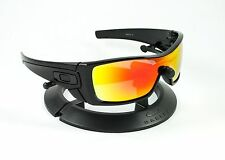 OAKLEY BATWOLF POLISHED BLACK FRAME & REVANT FIRE RED POLARIZED CUSTOM LENSES
