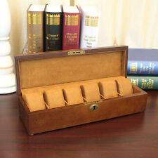 6 Slot Watch Box Jewelry Collection Display Wood Case Storage Gift man or woman