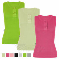 Ladies New 2 Button Ribbed Strap Vest Top Womens Stretch Sleeveless Cami T Shirt