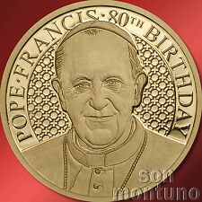 1/100 OZ - POPE FRANCIS 80TH BIRTHDAY - 11mm 24k Gold Coin 2016 COOK ISLANDS $5