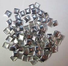 144PCS/1GR Rhinestuds Hot Fix Iron on, Aluminum Stud Square Shape 10mm Silver
