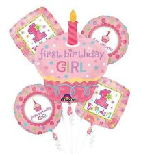 1st Year Old Girl Birthday Balloon Bouquet First Birthday Party Supplies - 5pc