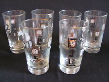 set 6 vintage 1950s 1960s tumblers glasses w. clocks black & gold MINT condition