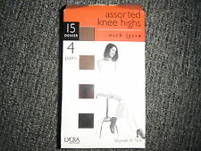 Tesco Comfort Top Knee Highs 15 Denier 2 x Chiffon & 2 x Black Shoe Size 4 - 8