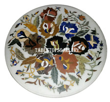 """30"""" White Marble Coffee Table Top Marquetry Inlay Floral Art Outdoor Decor H951A"""