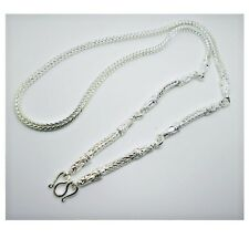 5 Hoop Buddha Amulet Chain  THAI BAHT WHITE GOLD GP NECKLACE 28 Inch Jewelry