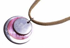 RETRO VINTAGE INSPIRED BEIGE/SILVER PINK STONE WITH SUEDE STRING  NECKLACE(ZX10)