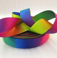 """1m Rainbow Colori Rosso Rosa Verde Blu Giallo Stampato Grosgrain Nastro, 1"""" 25mm"""