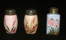 ANTIQUE VICTORIAN HAND PAINTED CATTAILS OPAQUE MILK GLASS SALT SHAKER SET