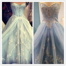 Cinderella Light Skye Bridal Gown Blue Queen Wedding Dress Sweetheart Lace 2016