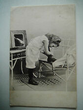 Pretty Little Girl Tying Her Shoes Old Postcard Raphael Tuck Art Series