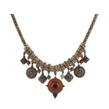 Vintage Bohemian Boho Ethnic Style Flower Crystal Dangle Charms Necklace Jewelry