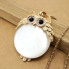 Fashion Gold plating Crystal Owls sweater chain long necklace CC319