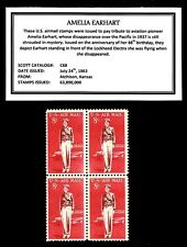 1963 - AMELIA EARHART -  Block of Four Vintage U.S. Airmail Stamps
