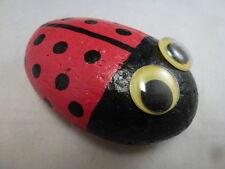 HAND PAINTED  LADY BUG ROCK  GARDEN, TABLE, PATIO, PLANTS CUTE