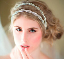 Wedding Bridal Beaded Rhinestone Crystal Headband Headpiece Hair Band Ribbon Tie