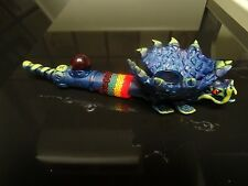 Flying Blue Dragon  Ceramic  Pipe. 5  screens   contains no glass   ( PM 2401 )