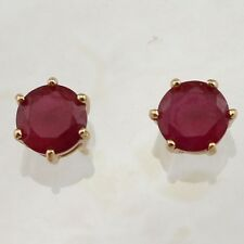 Classy Ruby Red 2.3ct Gems Jewelry Rose Gold Filled Stud Woman Earrings H1646
