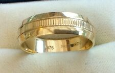 Super Quality Gents Hallmarked 9Ct Gold Patterned Wedding Band Ring Must See