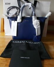 NewWT Karen Millen blue leather bowler messenger bag purse SOLD OUT